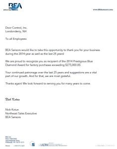 BEA Letter
